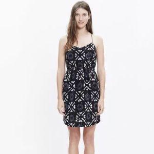 Madewell Silk Cami Dress 00 Black Cream Printed